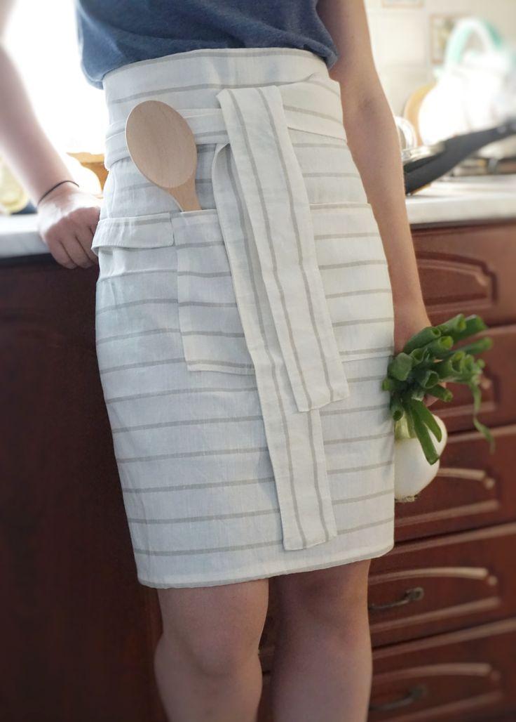 Organic linen apron - one size