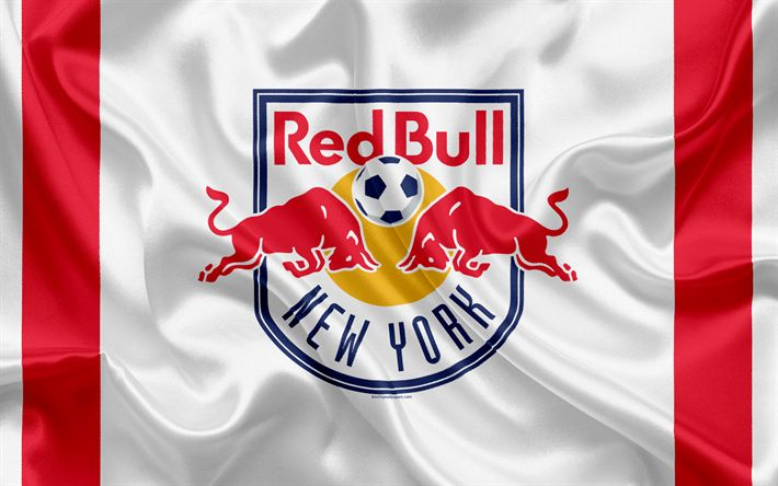 Download wallpapers New York Red Bulls FC, American Football Club, MLS, USA, Major League Soccer, emblem, logo, silk flag, New York, Harrison, New Jersey, football