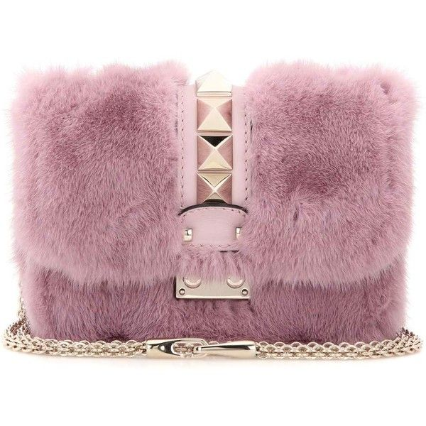 Valentino Lock Mini Mink Fur and Leather Shoulder Bag ($3,300) ❤ liked on Polyvore featuring bags, handbags, shoulder bags, bolsa, pink, pink handbags, pink purse, leather purses, pink leather handbags and purple leather purse