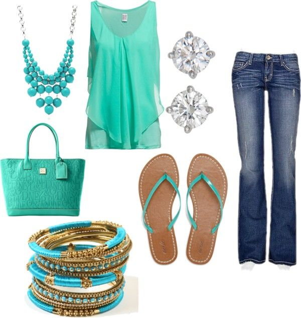 Spring outfit with flowy mint green top, mint green flip flops, bangles, and jeans