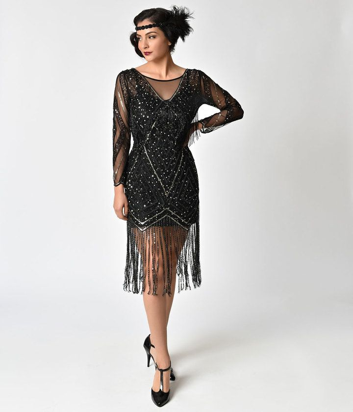 Black Gold Beaded Sheer Long Sleeve Betty Flapper Dress Vintage Style Fashion Clothing And Outfits 1920s Fashion Dresses Black Flapper Dress 20s Dresses