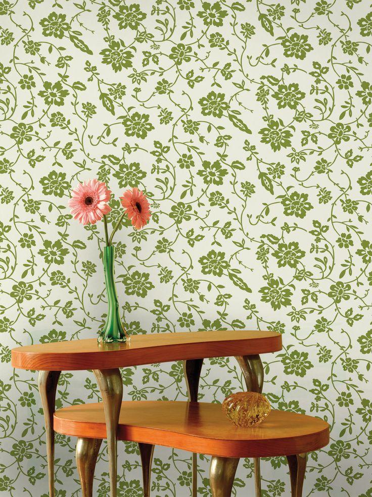 Empapelado - Floral verde - Papel de parede