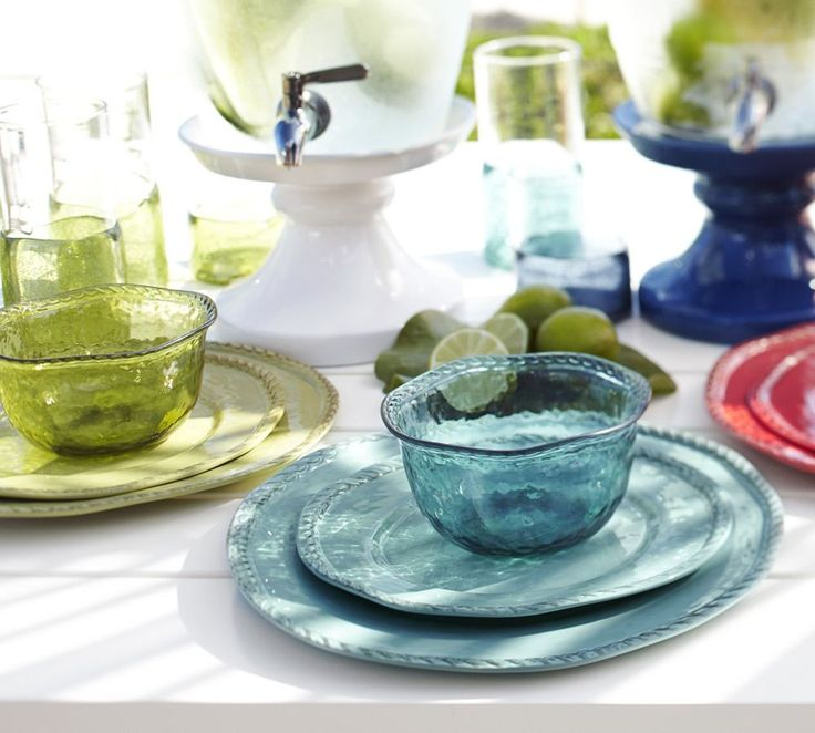 Rope Outdoor Dinnerware, Turquoise | Pottery Barn AU