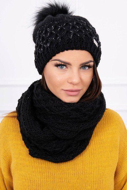 1ed9b3a7b Súpravička na zimu čiapka a šál čierna | Dámske čiapky a šály ...