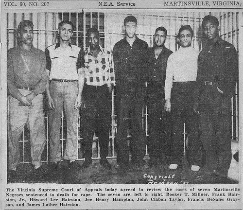 martinsville men The martinsville seven were a group of young black men executed in 1951 after  being convicted of raping a white woman their trials and the electrocutions.