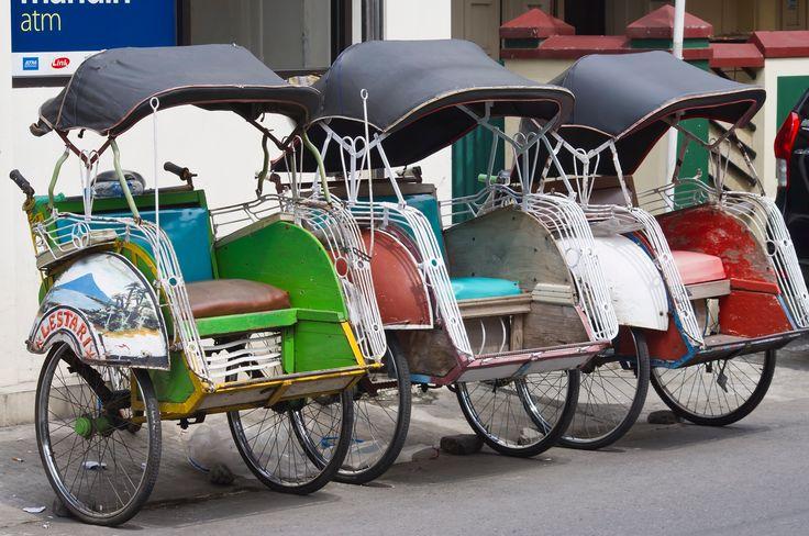 Rickshaws.. - waiting clients in Yogyakarta, central Java, summer 2013