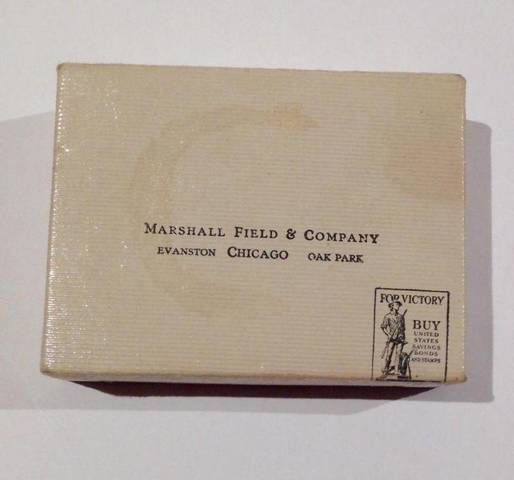 Marshall Field & Company Chicago WWII 1940s BUY BONDS small white gift box #MarshallFieldCompany