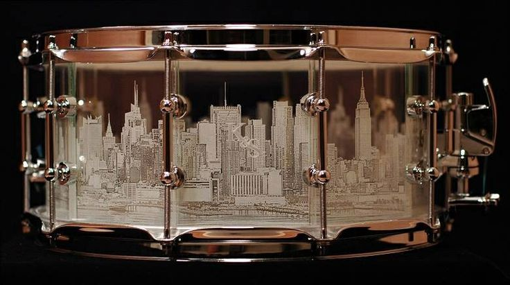 K & S Drums - glass etched snare drum