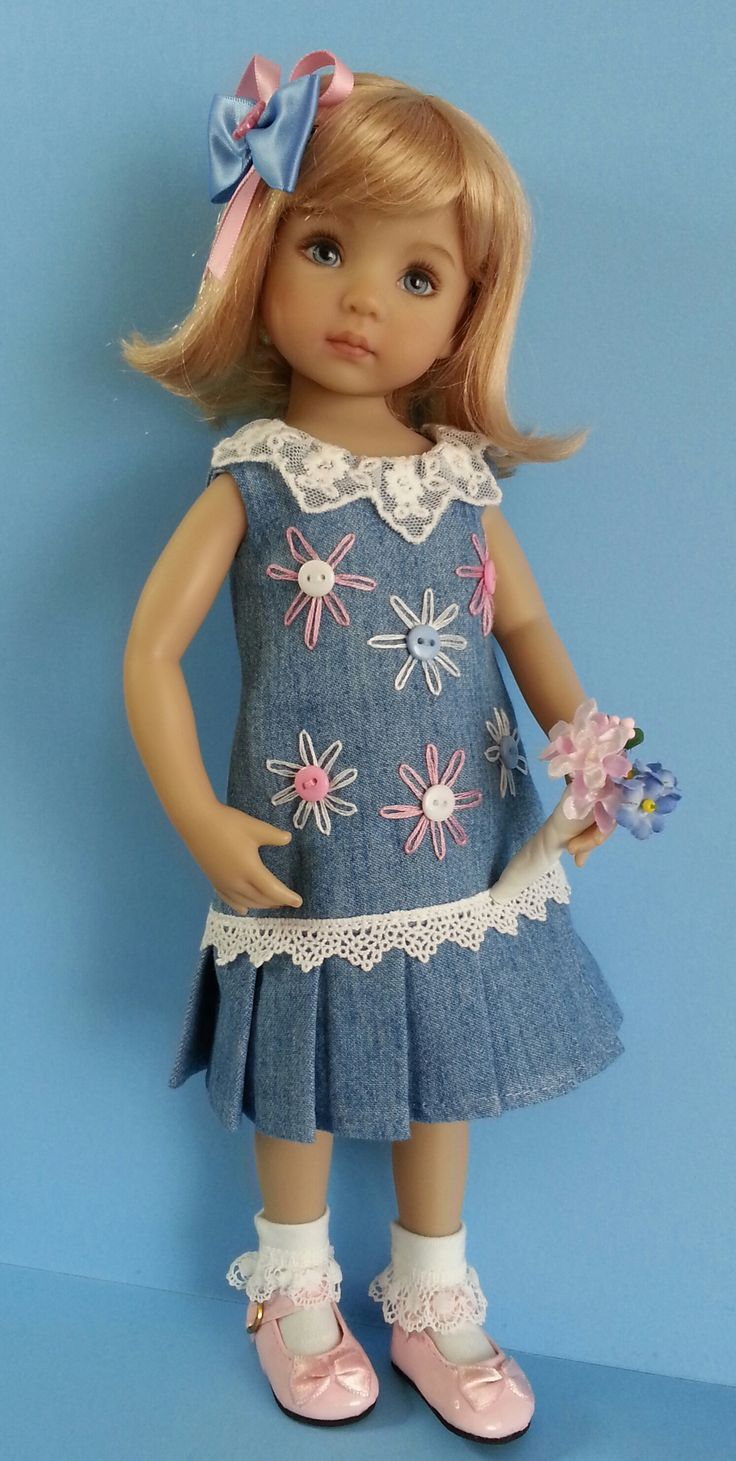 "Handmade in the UK by Salstuff, ships to most countries. Denim Daisies to fit 13"" dolls. Lined dress with pleats. Find me on facebook or Salstuff Carefully Made Doll Clothes."