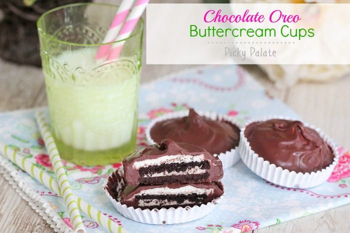 Chocolate Oreo Buttercream Cups...could use holiday oreos with the red ...
