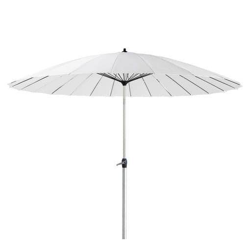 Witte stoffen en aluminium parasol
