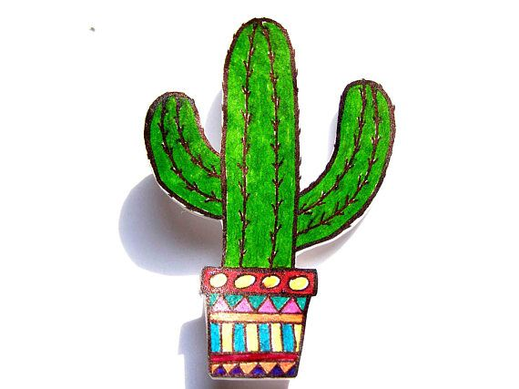A cute cactus brooch, shrink plastic brooch, funny brooch