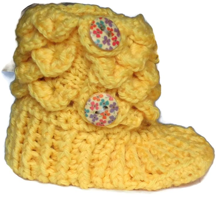 Crocodile Stitch Baby Boots - Handmade Baby Boots - Yellow Baby Boots EU SELLER