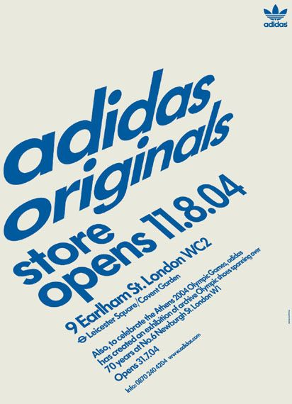 No other brand has been so closely associated with so many athletes in so many sports over so many years as Adidas. During the 2004 Olympic Games in Athens, Bibliothque produced spatial designs and print items for the launch of two new Adidas stores in London: a gallery/concept store on Newburgh Street and the Originals store on Earlham Street.