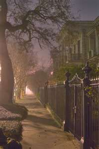 ... in Garden District at night. New Orleans, Louisiana, February 22, 2006
