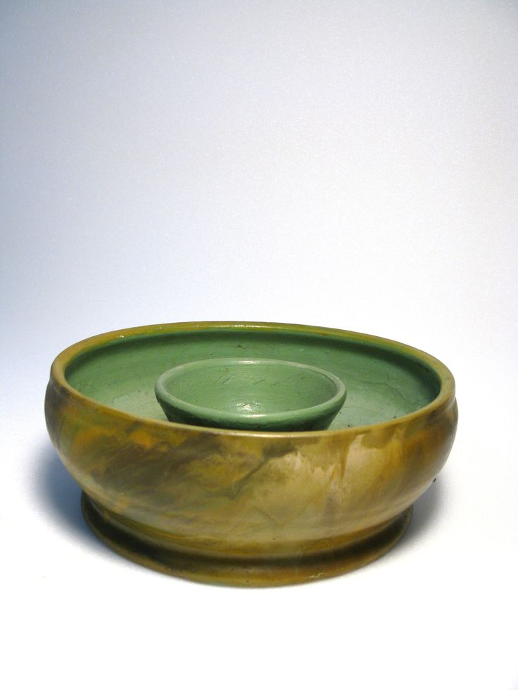 vase, trough, hand-painted in green / ochres