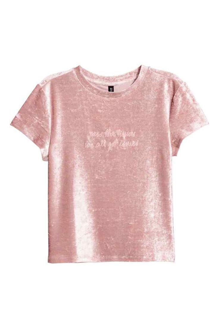 Top van geplet fluweel - Roze - DAMES | H&M NL