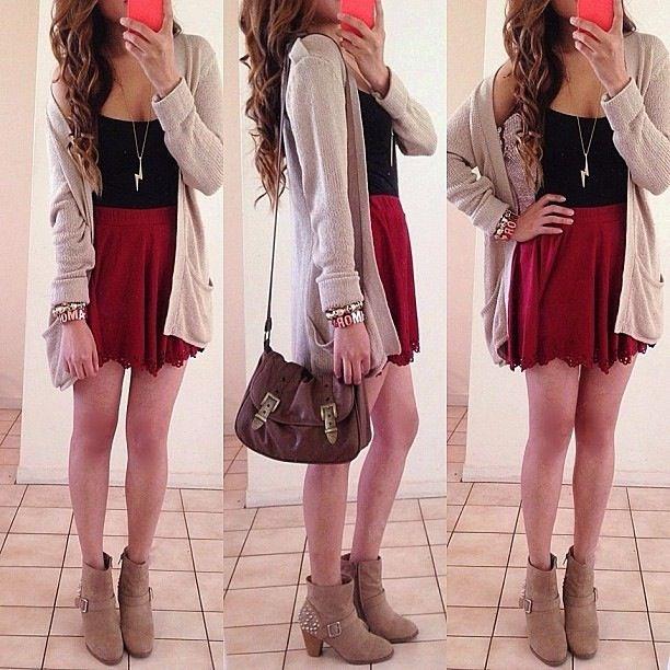 Black shirt maroon skater skirt nude cardigan. | Skater Skirt Fashion (Faux Leather etc)