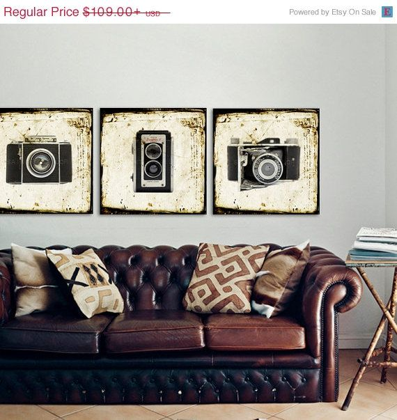 BLACK FRIDAY SALE Set of Three Square Canvases Ready to Hang, Vintage Camera Prints, Office Decor, Wall art, Vintage Camera Decor on Etsy, $87.20