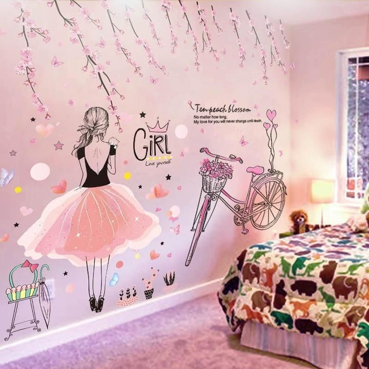 Wall Stickers For Girls bike and Flowers