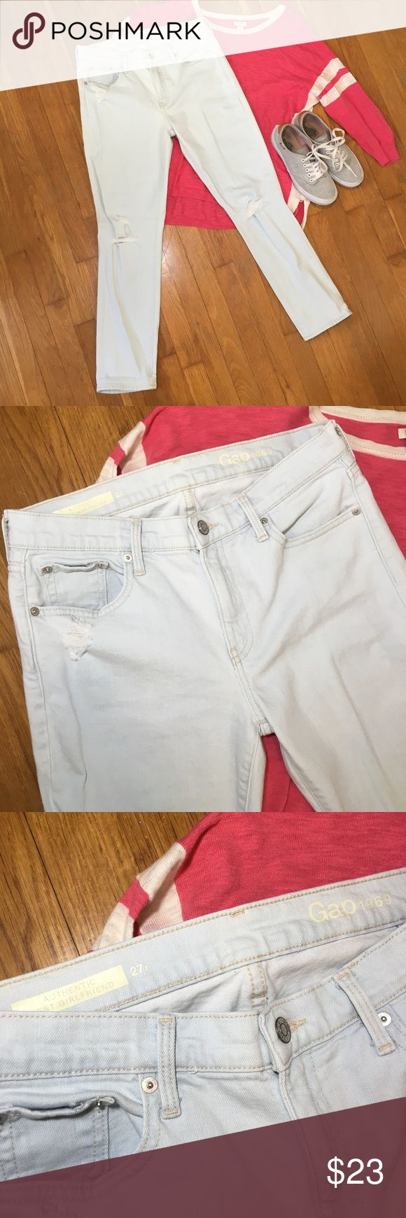 GAP distressed girlfriend jeans light wash size 27 GAP distressed girlfriend jeans light wash. Size 27/4. Excellent condition, there's rips in both knees and distressing on both back pockets. Narrow leg, halfway between straight and skinny. Dimensions coming soon GAP Jeans Skinny