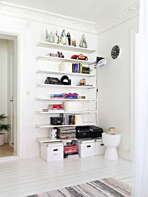 i've been thinking about these ikea brackets. they look real clean lined here. #bookshelf #shelfbracket #ikea #white