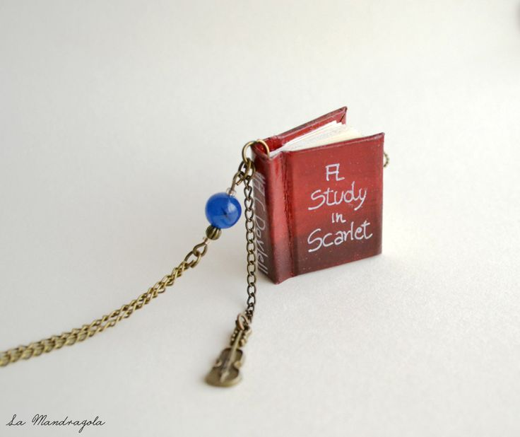 Sherlock Holmes Book Necklace. A Study in Scarlet red miniature with violin bronze charms