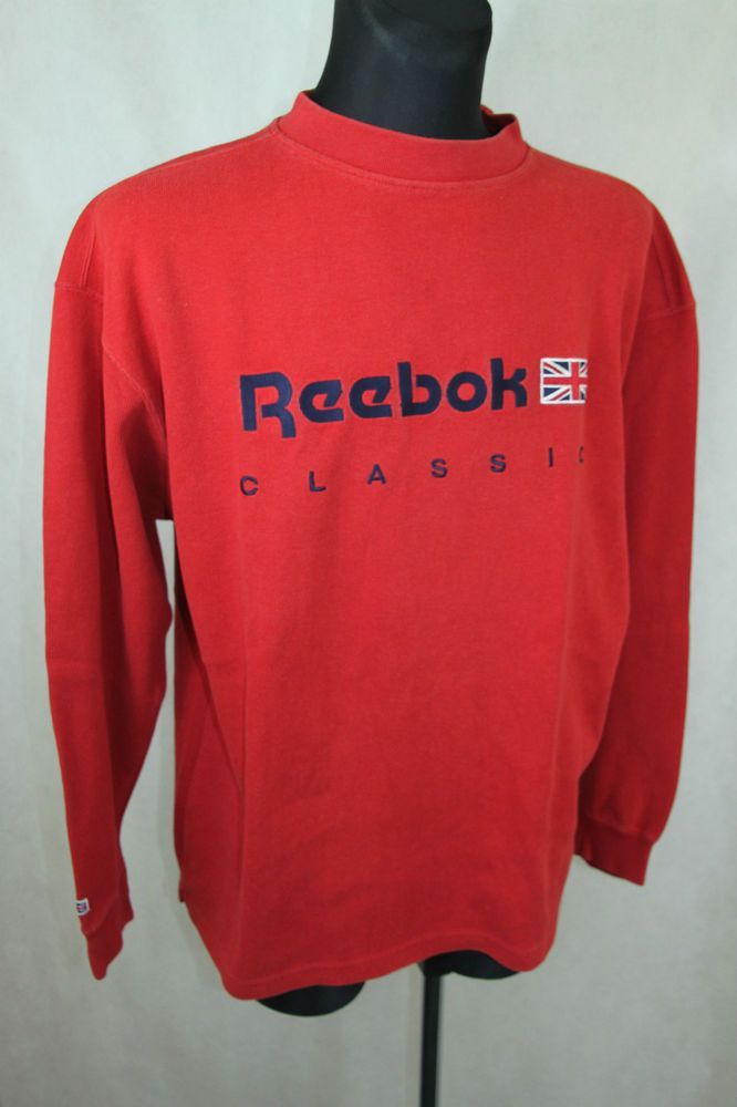 Mens Retro REEBOK CLASSIC Track Top Heavy Jumper Pullover Red sz L Large