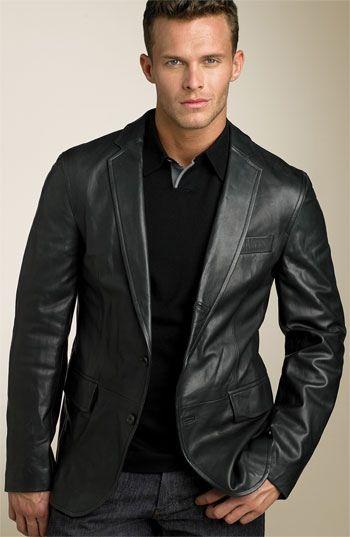 Hugo Boss Cels Black Leather Sport Coat That Nordstrom