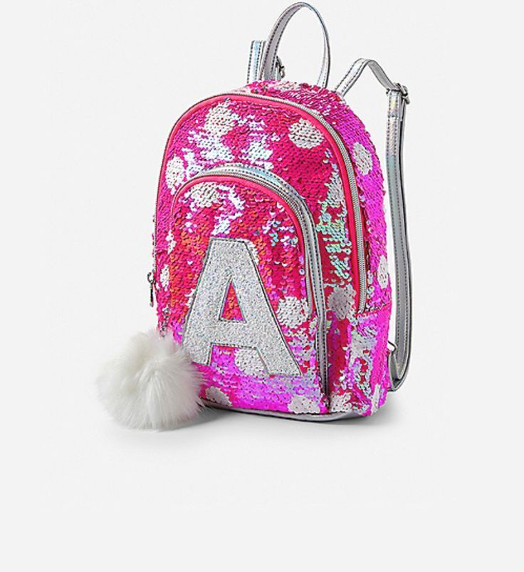 365465b02bf Justice Girls Pink Flip Sequin Initial Mini Backpack NWT #Justice ...