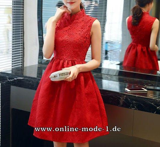 A Linie Sommerkleid in Rot mit Stehkragen