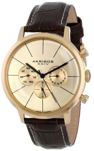 Akribos XXIV Men's AK647YG Ultimate Swiss Multifunction Gold-tone Stainless  Steel Brown Leather Strap Watch