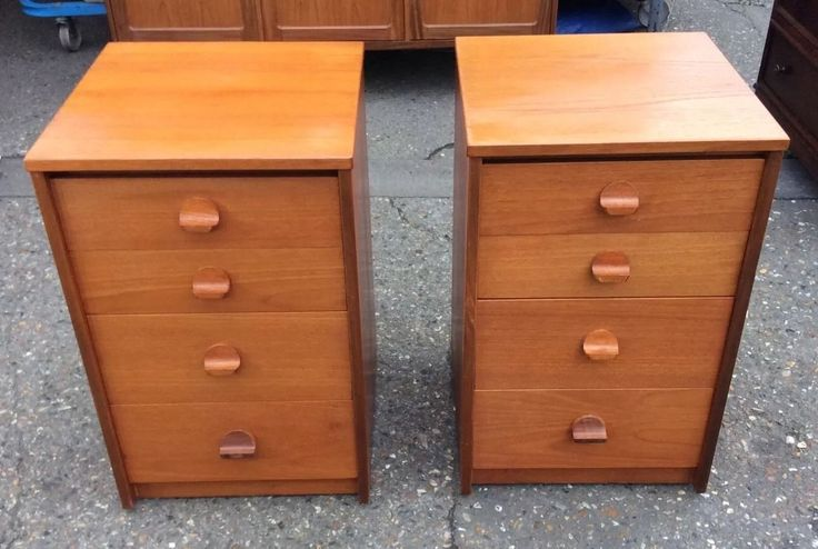 All drawers in good working order, all handles in good order. A mid-century design by John & Sylvia Reid, with feature handles. Width 45 cm depth 45 cm height 69 cm. | eBay!