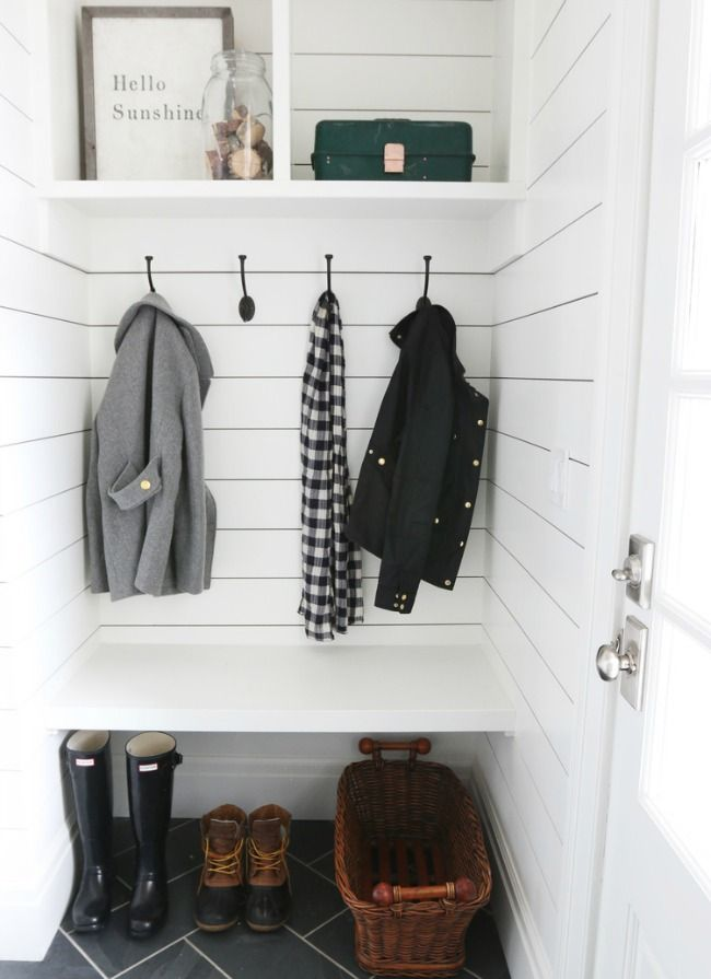 Shiplap/black hinges/black herringbone pattern tiles Marvelous Mudrooms! - Design Chic