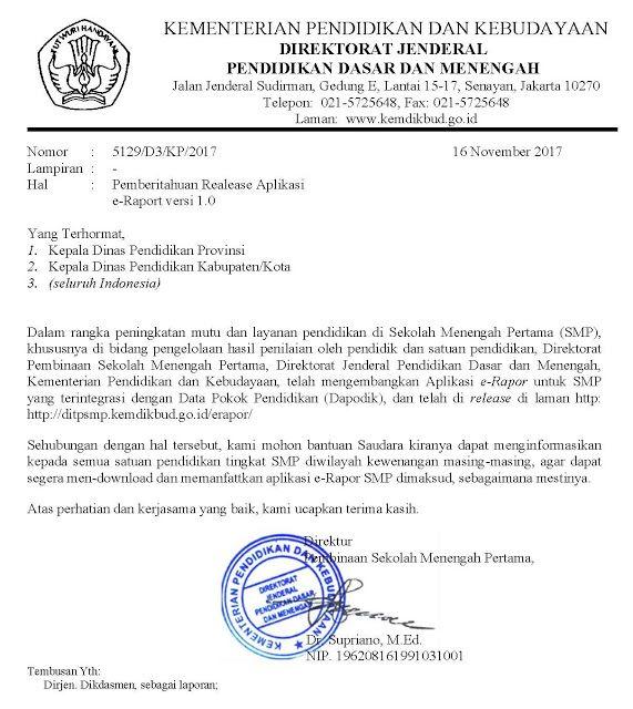 Surat Edaran E Rapor Ditpsmp Kemdikbud Go Id Saipul Hendra Pendidikan Dasar Pendidikan Smp