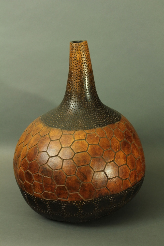 Africa Large Calabash With A Wonderful Cut In Design