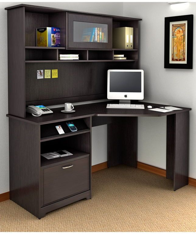 Furniture:Trendy Small Corner Computer Desk With Hutch Combine Open Shelves And Small Screen Tv Also Covered Brown Floor Great Benefits of Choosing Corner Computer Desk Designs for Your Home Office