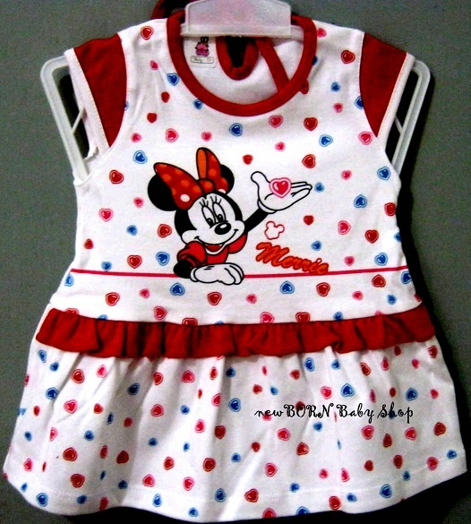 Baby Vi Minnie Mouse Dress  Age : 6-12 months  Material : Cotton/Katun  Colour : Blue,Pink and Red