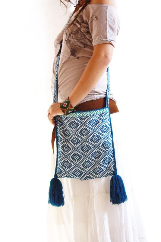 Handmade Mexican embroidered dresses and vintage treasures from Aida Coronado Mexican embroidered bag- authentic shaman bag A heart in every piece