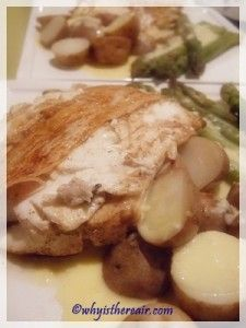 All in one dinner in the Varoma - fish with beurre blanc sauce, potatoes and asparagus - done in minutes.