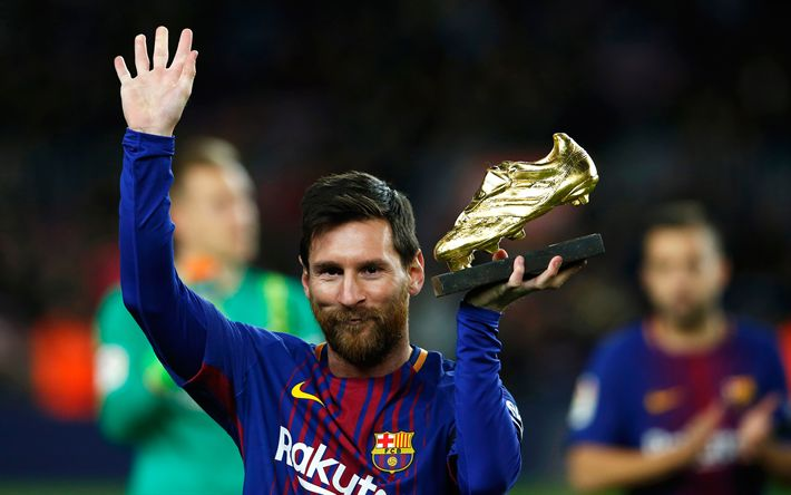 Download wallpapers Lionel Messi, golden boots, 4k, portrait, smile, Barcelona FC, Catalonia, Spain, football