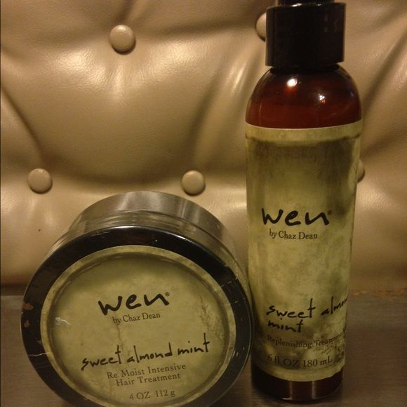 Wen hair care products! New ! New /full !WEN by Chaz Dean Sweet Almond Mint Re Moist Hair Treatment, 4 fl. oz. ($58 on Amazon)WEN by Chaz Dean Sweet Almond Mint Replenishing Treatment Mist, 6 fl. oz. ($33 on Amazon) Wen by Chaz Dean Other