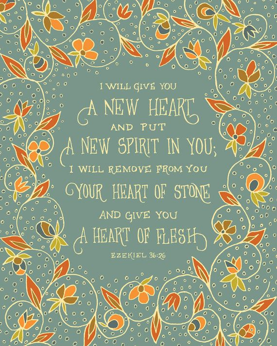I will give you a new heart Ezekiel Bible by littlethingsstudio