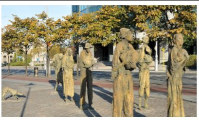 History: This picture is of statues of people who were trying to escape Ireland during the potato famine in Dublin Ireland. The potato famine was in September 1845-1852 where many poor people all over Ireland had depended on potatoes because of their monthly harvest. But, then do to late blight (a potato virus that enters the root into the plant infecting it spreading killing crop) it caused many deaths due to starvation and farmers were already having a tough time by then.