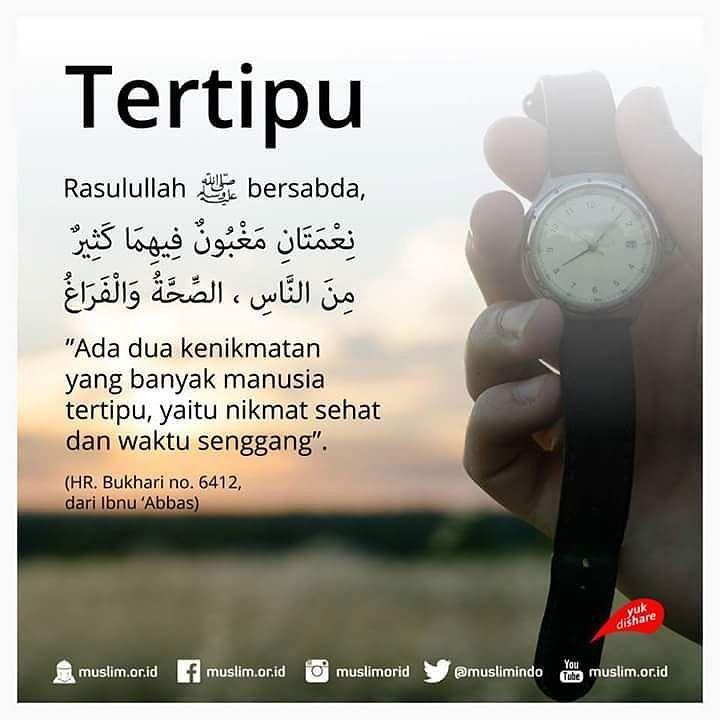 Mari kita manfaatkan nikmat sehat dan waktu luang ini sebaik baiknya agar tak menyesal di kemudian hari . #indonesiabertauhid #nikmat #sehat #waktu #luang #senggang #tertipu #hari #time #instagram #notetomyself by indonesiatauhid