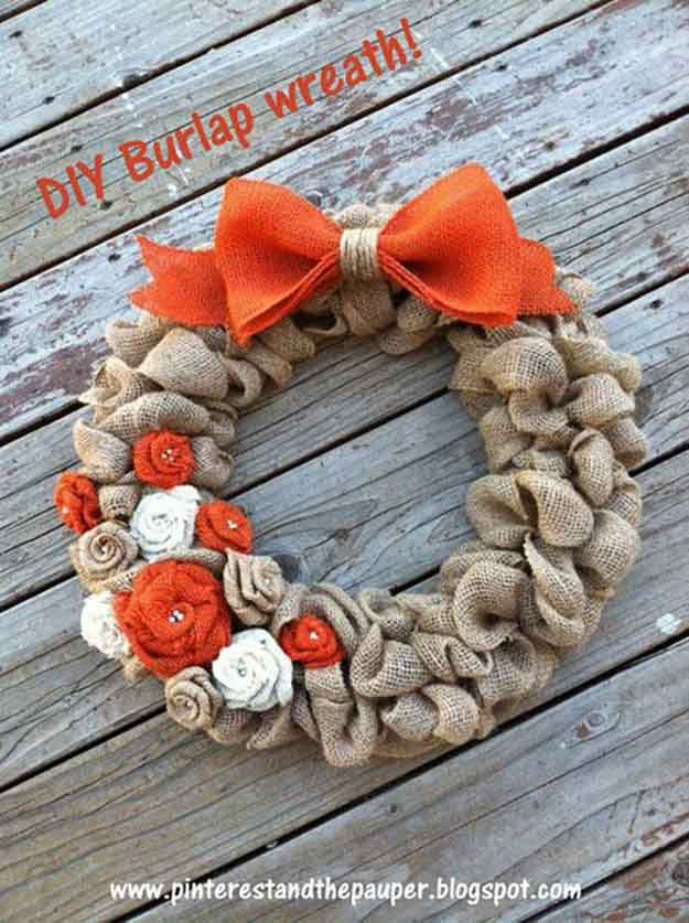DIY Burlap Wreath | 21 DIY Fall Door Decorations, see more at https://diyprojects.com/21-diy-fall-door-decorations-wreaths-door-hangers-more