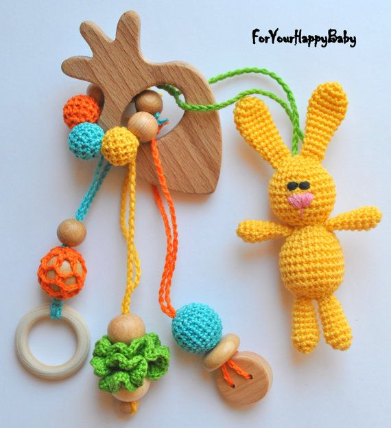 Personalized Teething toy with amigurumi hare by ForYourHappyBaby