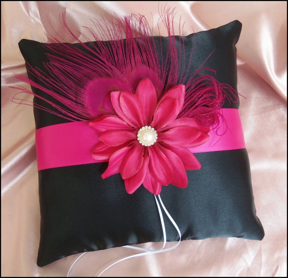 Fuchsia Pink and Black wedding ring bearer pillow by All4Brides, $50.00