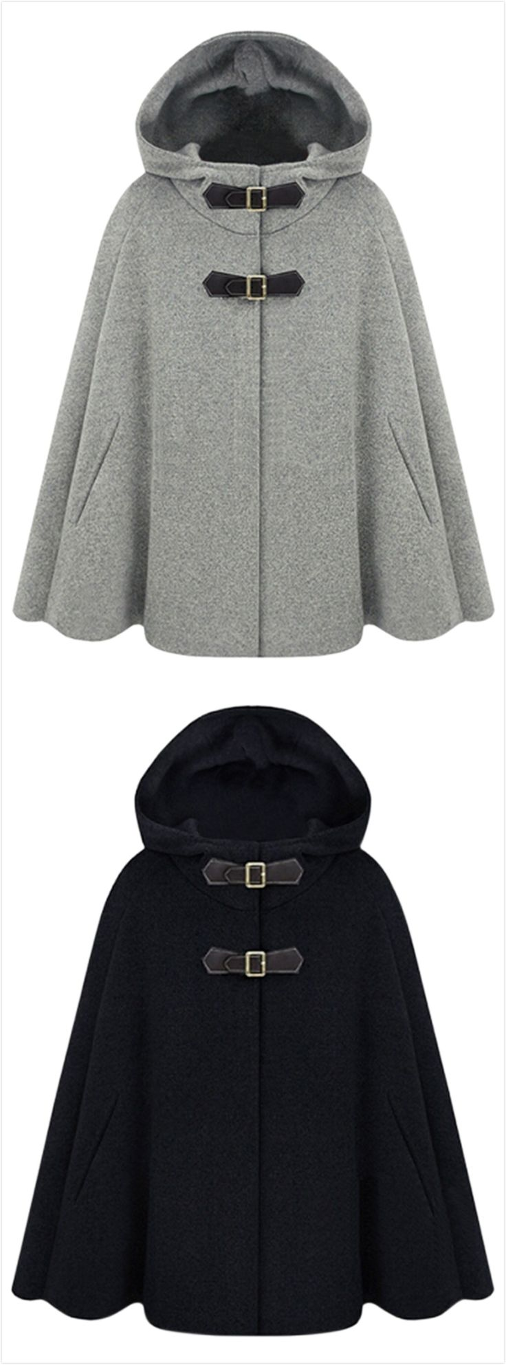 Women's Winter Wool Blend Hooded Cape Cloak Coat                                                                                                                                                                                 More