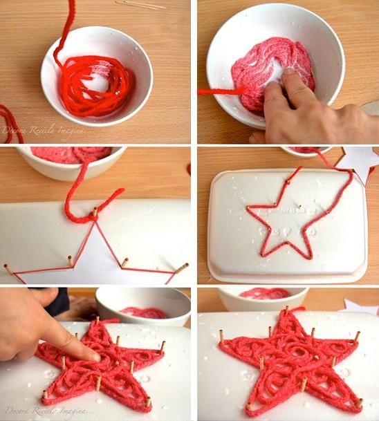 glue soaked yarn ornament